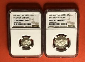 EGYPT-1964(5&10 PT)SILVER PROOF COINS(DIVERSION OF THE NILE),GRADED BY NGC PR69.