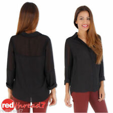Regular Size Chiffon Solid Long Sleeve Tops & Blouses for Women