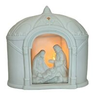 Vintage White Bisque Ceramic Christmas Nativity Scene Holy Family Night Light