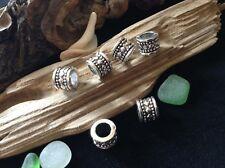 6 x Silver Tone Dreadlock Beads 7mm Hole Celtic Viking Beard Dread Bead Tubes UK