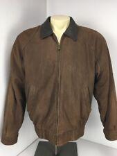 Men's Vintage MEMBERS ONLY Dark Brown Suede Leather Bomber Zip Jacket Sz L