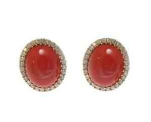GENUINE NATURAL OVAL CABOCHON PINK CORAL DIAMOND STUD EARRINGS 14K YELLOW GOLD
