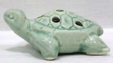 "Vtg McCoy Miniature Turtle Flower Frog Green Glaze 4"" Very HTF !"