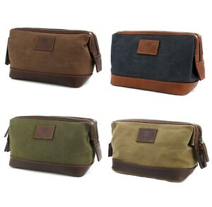 Waxed Canvas & Leather Washbag Choice of Colours