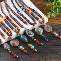 Multi Pattern Bohemian Pendants Vintage Ethnic Wood Handmade Beaded Necklace HOT