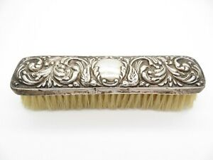 Antique Edwardian Sterling Silver Clothes Clothing Brush, Repousse Birds Scrolls