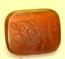 Antique Curved Rectangle Stone Seal Intaglio Carnelian Old English Initials B41