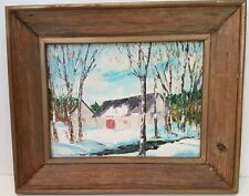 Vintage Rustic Landscape Acrylic Painting Winter Scene Country Barns Signed