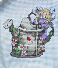 Finished CrossStitch Needlepoint Flutter Blossom Family Garden Fairy Wateringcan