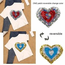 Heart Sequin Patch Embroidery Sewing Patch Badge Clothes Applique Craft DIY
