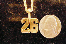 bling gold plated sports ball game number 26 pendant charm necklace hip hop gp