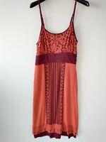Athleta Womens Size Small Dress Orange Burgundy Scoop Neck Spaghetti Straps