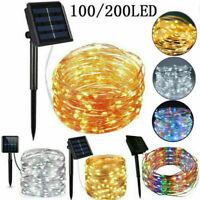 20-400 LED Solar Lichterkette Kupferdraht Beleuchtung Garten Party Außen Deko