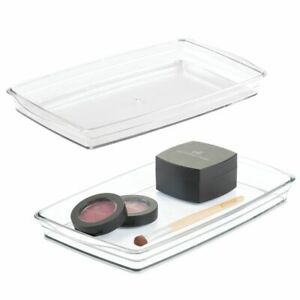 mDesign Plastic Bathroom Vanity Storage Organizer Tray Holder - 2 Pack - Clear