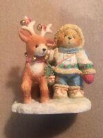"Enesco Cherished Teddies - Nils Figurine #617245 ""Near And Deer For Christmas"""