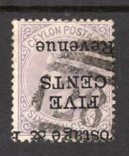 Ceylon. 1885. Victoria.  5c on 16c inverted opt. stamp. perf 14. SG No. 180a