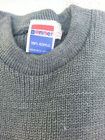 Knitted crew Neck BANNER School Uniform Jumper Pullover size 36  grey BOYS GIRLS