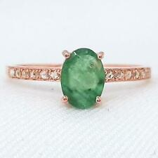 Genuine .95ctw Columbian Emerald & H-SI Diamond 14K Rose Gold 925 Silver Ring
