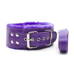 Purple Fetish Bondage Restraint Faux Leather Furry Neck Collar Choker with Leash