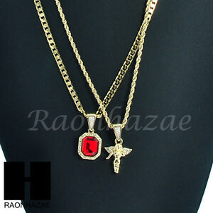 HIP HOP MINI RICH GANG RED RUBY & MINI ANGEL ROPE CUBAN CHAIN NECKLACE SET KN004