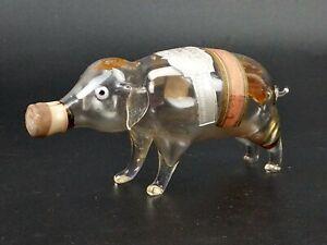 Vintage Blown Glass Miniature Pig Simon Rynbende Liqueur Bottle