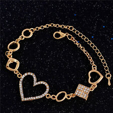 18K Gold Plated Austrian Crystal Love Heart Bracelet Bangle Charm Women Jewelry