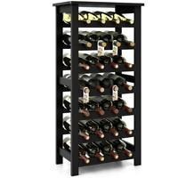 28 Wooden Rack Free Standing Bottles Display Storage Shelf w/ 7 Shelves