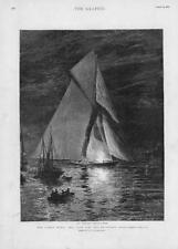 1893 Antique Print - HAMPSHIRE Isle of Wight Cowes Week Britannia Flare  (218)