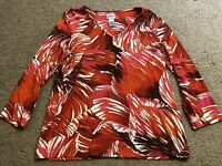 CHICO's Red Pink Floral 3/4 Sleeve Casual Blouse Top Shirt womens 1 Medium 8 MD