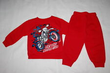 Toddler Boys Outfit Dirt Bike Motor Club Red Sweatshirt & Sweat Pants Size 2T