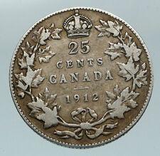 1912 CANADA UK King George V Genuine Original SILVER 25 CENTS Coin i84592