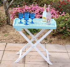 Butlers Tray - Acacia Hardwood Butler's Folding Table with Outdoor Paint - Mint
