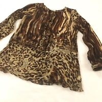 Cabi Leopard Blouse Women's size large Silk Semi Sheer Tunic Syle