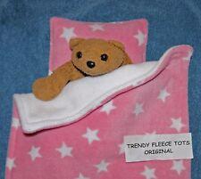 DOLL TEDDY cot pram BLANKET BEDDING PILLOW SET pink STAR