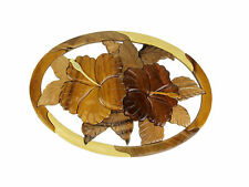 Tropical Hibiscus Flower Hand Crafted Intarsia Wood Art Wall Hanging