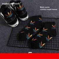 Funny Men's Socks New Maple Leaf Long Socks Cotton Skateboard Hemp weed Skating