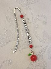 Personalised Red Enamel Apple Charm Book Mark Teacher Thank You Stocking Filler