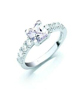 New Ladies 925 Sterling Silver Princess Cut Cubic Zirconia Ring sizes J - R