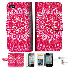 Hot Pink AZTEC TRIBAL Wallet Case Cover For Apple iPhone 4 4S -- A004
