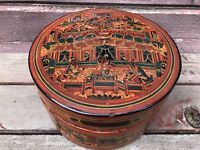 Antique BURMESE Lacquer Round Wood Betel Nut Box Container w Tray Indonesian