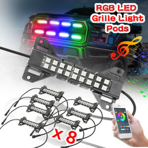 8 Pods RGB LED Rock Lights Grille Light Multi Color Music Bluetooth Control 4WD