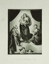 ANTICA STAMPA-MADONNA-RAFFAELLO.CAPPELLA SISTINA.1850c