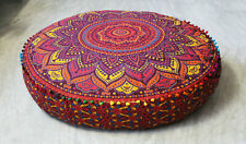 "Floor Pillow Cover 35"" Round Meditation Cushion Cover, New Mandala Pouf Covers"