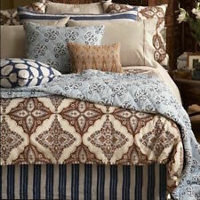 RARE JOHN ROBSHAW MINDANAO WALNUT QUEEN DUVET COVER BLUE BROWN CORN FLOWER PRINT