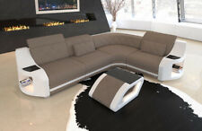 Polsterstoff Sofa Genua Stoff Couch Ecksofa Chesterfield Design LED Beleuchtung
