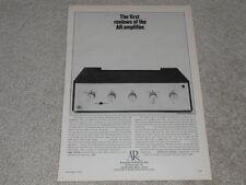 AR Amplifier Ad, 1968, Article, Specs, Info, 1 pg, RARE