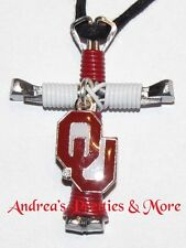 Disciple's Cross Horseshoe Nail Necklace - Wire Wrapped Cross - Ou Sooners Logo