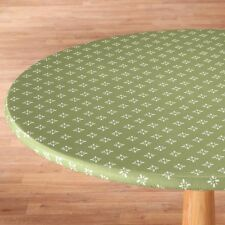 ELASTICIZED Heritage Vinyl Weave Table Cover Round Oval/Oblong Fleece Backed ~