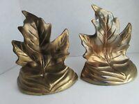 Maple Leaf Bookends - Metal - Copper Finish - Circa 1960's