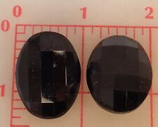 12 vintage extra large oval glass faceted shank buttons jet black 31x24mm 1.25""